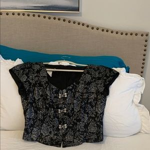 Elegant Black & Silver Brocade Formal Blouse